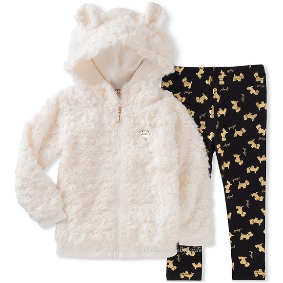 Juicy Couture White Bear Hoodie & Leggings Set